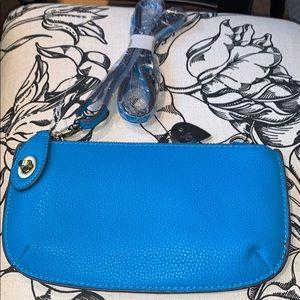 Joy Susan Blue Vegan Leather bag 2 straps